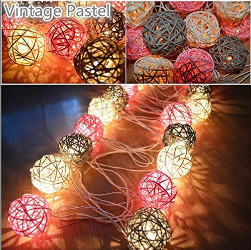 Vintage pastel Rattan/Wicker Ball Patio Party String twinkle Fairy Lights, Wedding decor (Opi Nail Polish Vintage compare prices)