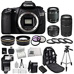 Canon EOS 60D DSLR SSE Bundle Camera Kit with 3 Canon lenses: Featuring Canon EF-S 18-55mm f/3.5-5.6 IS STM Lens + Canon Normal EF 50mm f/1.8 II + Canon Zoom Telephoto EF 75-300mm f/4.0-5.6 III Autofocus Lens, Also Includes: 0.43x Wide Angle Lens & 2.2x Telephoto Lens, 3 Piece Multi-Coated Filter Kit & 4 Piece Macro Lens Kit, Extra LP-E6 Replacement Battery & Travel Charger, 32GB SDHC Memory Card & Reader, Deluxe Backpack, Bounce and Swivel Zoom Flash and Much More