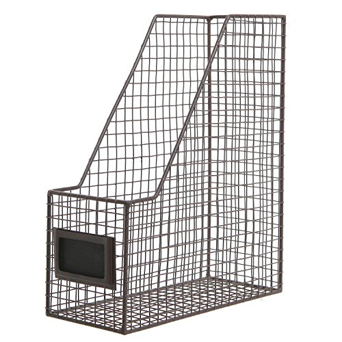 Brown Mesh Wire Metal Magazine Rack / Mail Holder / Document File Folder Storage Basket w/ Label Holder