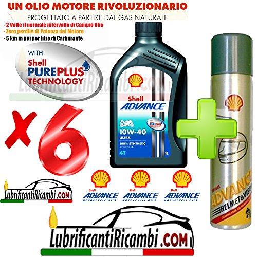 Offerta-Shell-Advance-4T-Ultra-10W40-SMMA2-6-Litri-Nuova-Formula-PUREPLUS-Shell-Advance-Helmet-Pulitore-casco-Elimina-silicone-insetti-olio-grasso-formato-300-ml
