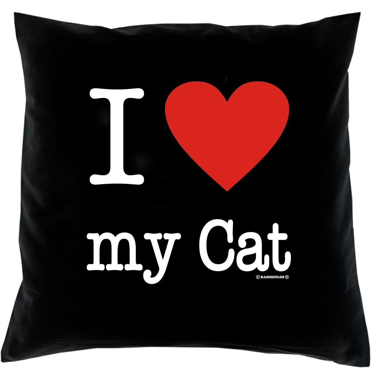 Kissen mit Innenkissen – Katzenfreunde – I Love my Cat – mit 40 x 40 cm – in schwarz : ) jetzt kaufen