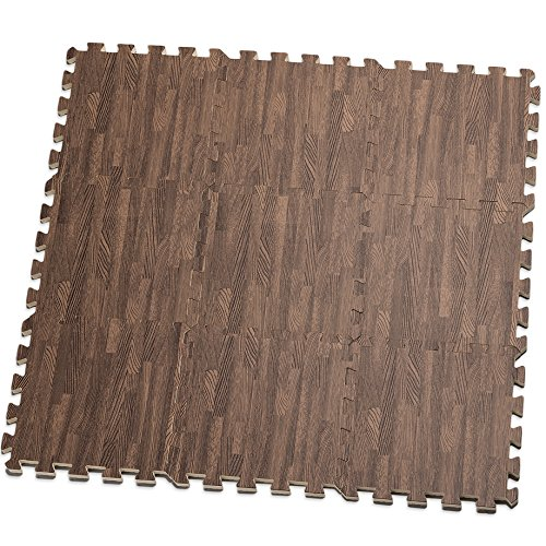 HemingWeigh Printed Wood Grain Interlocking Foam Anti Fatigue Floor Puzzle Mats - Makes a Superior Fitness, workout and exercise mat. Thick, Durable & Safe for all Ages- Set of 9 Tiles (Dark Brown)