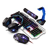 Zhengfangfang Mechanical Feel Game Keyboard Mouse Headset Five-Piece Set - Wired Notebook Home Silver Keyboard