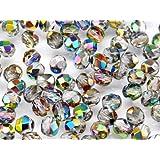 Czech Fire-Polished Glass Beads Rounds 6mm Crystal Vitrail 25 pcs