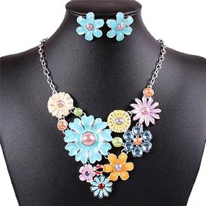 Qiyun Colorful Flower Cluster Festoon Y-Necklace Bib Statement Necklace Earring Set Colore Grappe De Fleurs Feston Y-Collier Collier