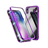 Case for Huawei P20 lite Magnetic Slim PC Hard Case Metal Frame Tempered Glass Magnet Flip Anti-Scratch Protective Cover (Purple, Huawei P20 lite 5.8