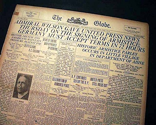 1918-wwi-newspaper-germany-surrender-world-war-i-end-armistice-nears-gen-foch-the-globe-bethlehem-pe