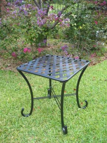 SLEIGH IRON PATIO SIDE TABLE in a DARK GREY FINISH