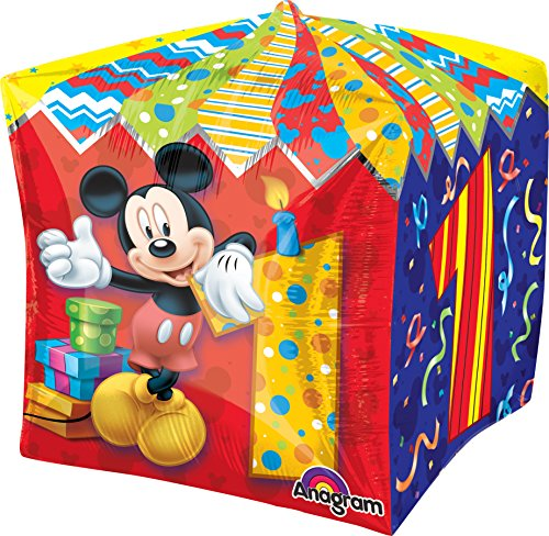"Anagram International Mickey Age 1 Cubez Balloon Pack, 15"", Multicolor"