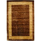 Safavieh Silk Roads SKR211A Chocolate and Light Gold Handmade New Zealand Wool Area Rug, 5-Feet by 8-Feet