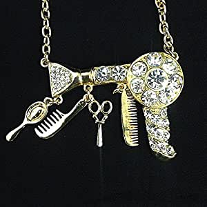 Hair Dresser Gold Rhinestone Necklace / Blowdryer Necklace / Hair ...