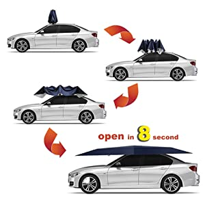 Snow Wind Proof Jolitac Car Tent Semi-Automatic Manual, Blue Tent Portable Car Umbrella Tent Cover Movable Carport Folded Automobile Cars Protection Canopy with Sun Shade Anti-UV Water-Proof