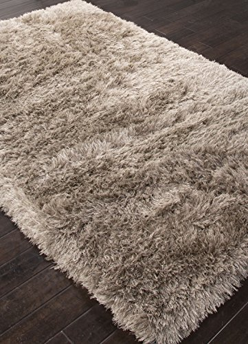 Addison and Banks Shag Solid Pattern Polyester Area Rug, 2 by 3-Feet, Pewter/Sterling Silver