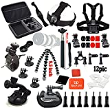 Black Pro Basic Common Outdoor Sports 31-in-1 Kit for Gopro Hero4 Black/silver Hero 4/3+3 2 1, + Extendable Tripod Mount + Chest Mount Harness + Helmet Mount Strap + Anti-fog Insert + Bike/motor Bicycle Handlebar Mount + Tripod Mount Adapter + Long Screw Bolt +Black Pro Cleaning Cloth+black Pro Lanyard+ Monopod Extendable Handheld+ Wrist Holder+ Adjustable Head Strap+ Removable Car Suction Cup Mount+large Carry Case