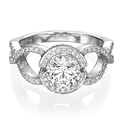 White Gold Engagement Ring 2.60CT Round Cut Man Made Diamond D/VVS1 14ct