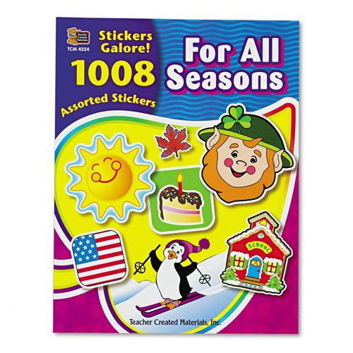 Teacher Created Resources : Sticker Book, For All Seasons, Assorted Colors, 1008 Stickers per Pack -:- Sold as 2 Packs of - 1008 - / - Total of 2016 Each