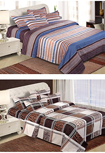 Home Creations Combo Of 2 Poly Cotton Double Bed Sheet With 4 Pillow Cover (tbs-3dbed-B28+B29, 220 Cm X 240 Cm)