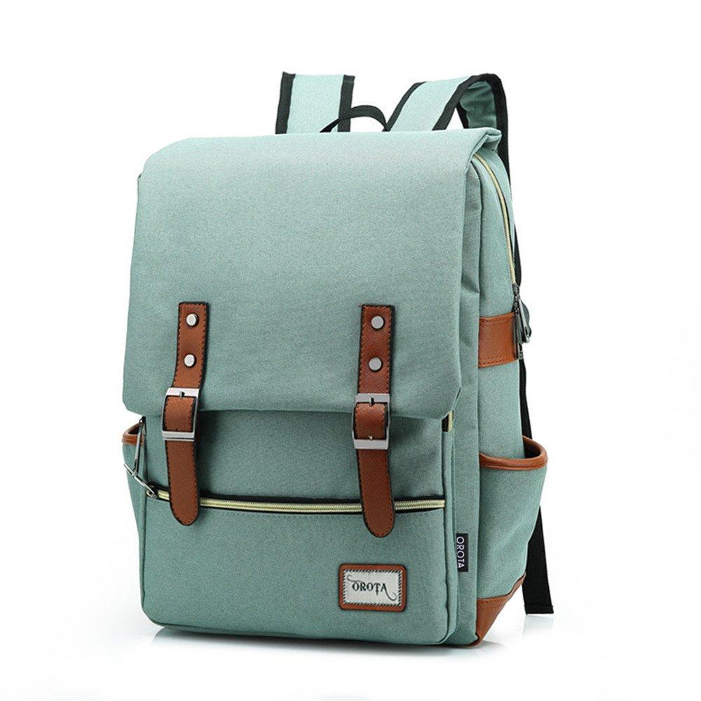 orota Vintage College Backpack School Bookbag Canvas Laptop Backpack rucksacks 0