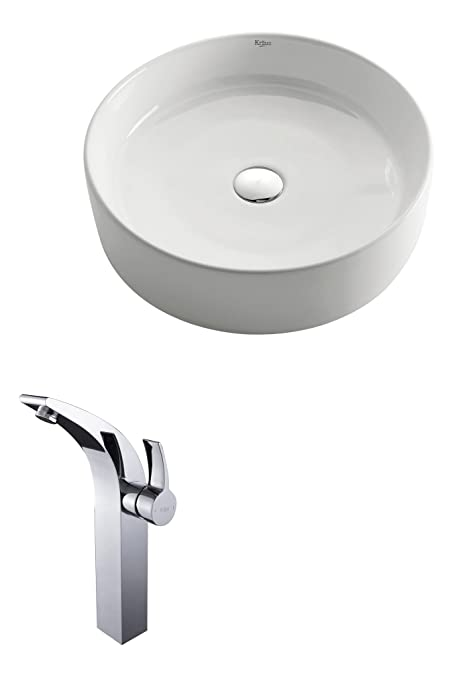 Kraus C-KCV-140-14700CH White Round Ceramic Sink and Illusio Faucet Chrome