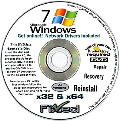 Windows 7 All ANY 32/64-bit Versions Ultimate, Home Premium, Sp1 New Full Re Install Operating System Boot Disc - Repair Restore Recover DVD