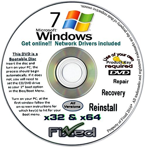 WINDOWS 7 All Versions (English)~32 & 64 bit Repair/Reinstall Fresh Re-Install. Network Drivers Included