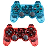 Saloke Wireless Gaming Controller for Ps2 Double Shock (ClearBlue1 and ClearRed) (Color: ClearBlue1 and ClearRed)