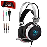 PC Gaming Headset for Xbox one PS4, 3.5mm Wired Over-Ear Headphones with Surround Sound, Noise Reduction, Mic, LED Lights, Volume Control for Laptop, Mac, iPad, Phone, Computer (M03-Grey) (Color: M03-Grey)