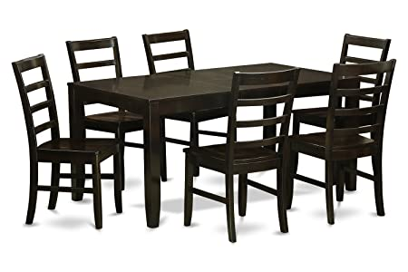 East West Furniture LYPF7-CAP-W 7-Piece Dining Table Set, Cappuccino Finish