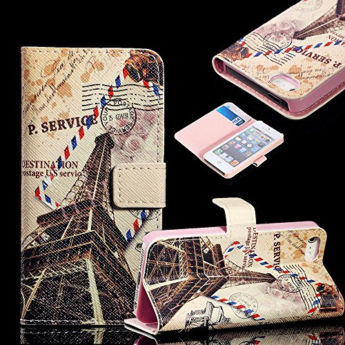 Mylife Earth Tan And Light Pink Paris - Collage Design - Textured Koskin Faux Leather (Card And Id Holder + Magnetic Detachable Closing) Slim Wallet For Iphone 5/5S (5G) 5Th Generation Smartphone By Apple (External Rugged Synthetic Leather With Magnetic C