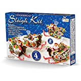 DIY Christmas Gingerbread Sleigh Kit Holiday Great Gift for Kids and Entire Family Includes, Makes 4 Pre-baked Sleighs, Candy Canes and Candy Jewels, Jelly Santas, Pre-made Icing, Bags and Ties. By Pistachio Gifts®
