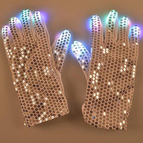 [Finger Lighting Mitten ,Hmlai Patch gloves LED luminous gloves 006 cool dance equipment Halloween Christmas (white] (Dance Central Halloween Costumes)
