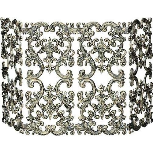 UniFlame 4-Fold Cast Aluminum Screen, Antique Gold (Antique Fireplace Screen compare prices)
