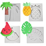 4 PCS Fruits Series Silicone Fondant Mould Tropical Fruit Turtle Leaf Watermelon Pineapple Coconut Palm Tree Candy Making Mold Cake Decorating Supplies Kit by PROKITCHEN (Color: fruit molds)