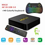 TV Box, MX10 RK3288 Quad-core Android 7.1 TV Box 4GB 32GB, Support 2.4G Wifi Connected 64bit Quad-Core 3D 4K HDR Video Playback Smart TV BOX with Wireless Backlit Colorful Keyboard