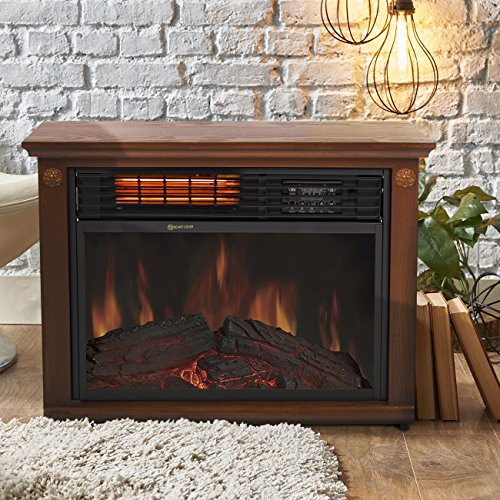 Best Choice Products Large Room Infrared Quartz Electric Fireplace Heater Honey Oak Finish W