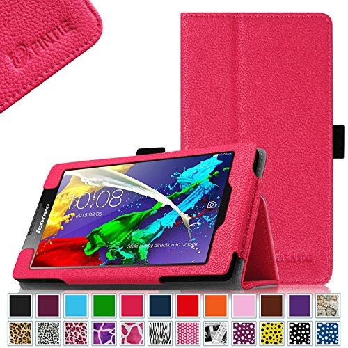 Fintie Lenovo Tab 2 A7-10 / A7-30 Folio Hülle Case Cover Tasche Etui - Premium Leder Schutzhülle mit Auto Sleep / Wake für Lenovo Tab 2 A7-10/ A7-30 17,8 cm (7 Zoll) IPS Android Tablet, Magenta