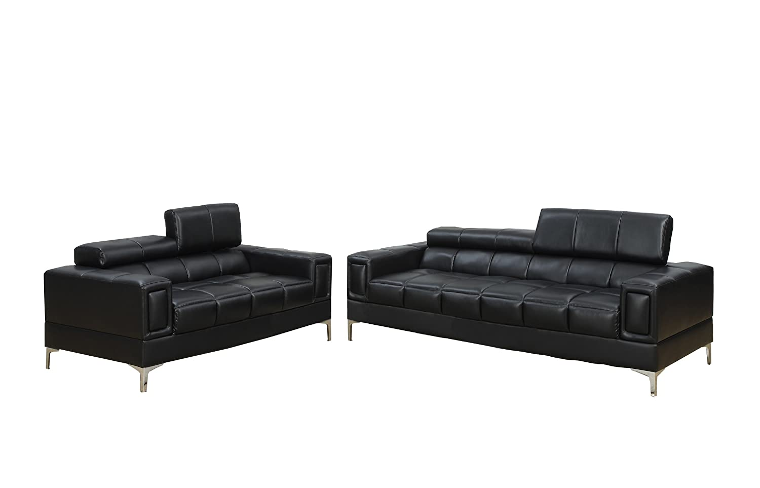 Poundex Bobkona Sierra Bonded Leather 2 Piece Sofa and Loveseat Set - Black