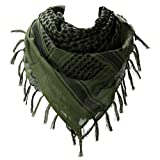 100% Cotton Military Shemagh Arab Scarf Tactical Desert Keffiyeh Thickened Scarf Wrap (1 PCS, Army Green)