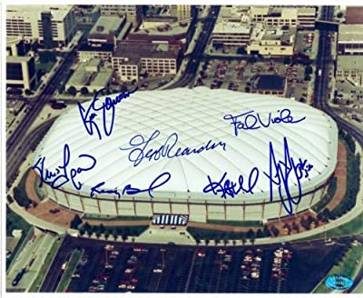 Minnesota Twins autographed 8x10 photo The Metrodome signed by Randy Bush, Frank Viola, Kent Hrbek, Greg Gagne, Jeff Reardon, Kevin Tapani, Ken Schrom