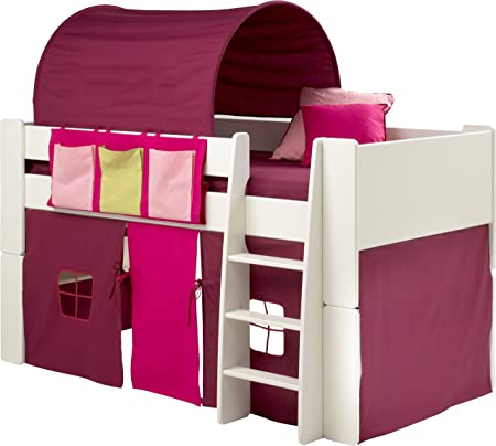 Girls Bunk Bed, Kids White Mid Sleeper Bed, Cabin Bed, with Pink Tent Tunnel & Pocket