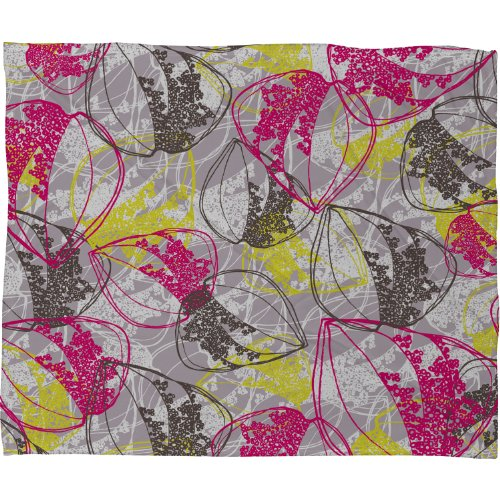 Deny Designs Rachael Taylor Organic Retro Leaves Fleece Throw Blanket, 40-Inch By 30-Inch back-897967