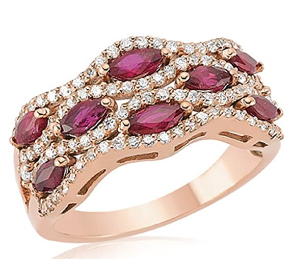 1.59 Carats 18k Solid Rose Gold Ruby and Diamond Engagement Wedding Bridal Promise Ring Bands B