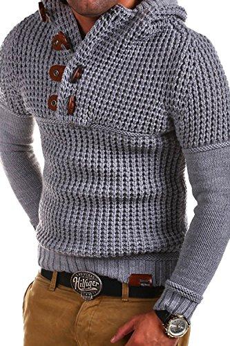 Tazzio Strick Hoodie mit Knebelverschluss Pullover 14-413 [Grau, M]
