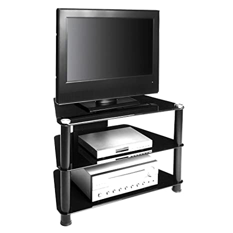 RTA Home And Office Black Glass Aluminum 32 Inch Below Clear Tempered Glass Plasma/Lcd Tv Stand With Wire Management