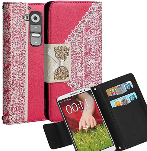 myLife Coral Pink and Vanilla White Lace Bow Series {Fancy Design} Faux Leather (Multipurpose - Card, Cash and ID Holder + Magnetic Closing) Folio Slimfold Wallet for the LG G2 Smartphone (External Textured Synthetic Leather with Magnetic Clip + Internal Secure Snap In Closure Hard Rubberized Bumper Holder)
