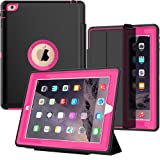 iPad 2/3/ 4 Case with Smart Cover, SEYMAC Three Layer Drop Protection Rugged Protective Heavy Duty iPad Case with Magnetic Smart Auto Wake/Sleep Cover for iPad 2/3/4 (Black/Rose) (Color: Black Rose)