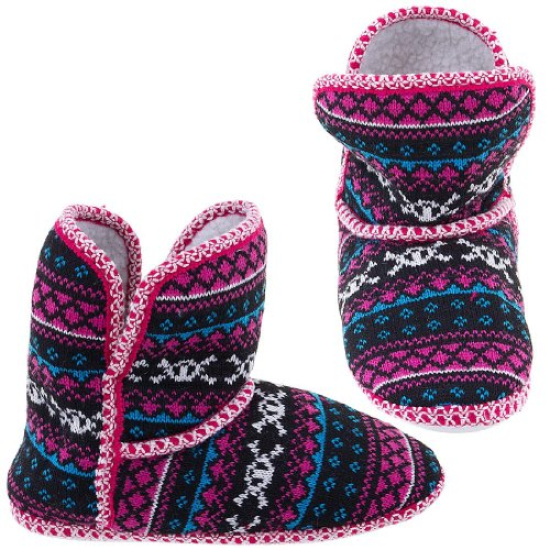 Cheap Chatties Fuchsia Skull Fair-Isle Bootie Slippers for Women (B005Y4T4YA)