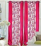 """Hargunz Eyelet Kolaveri Polyester Door Curtains - 84""""x48"""", Pack of 1 Curtain, Pink (KS038-1-2)"""