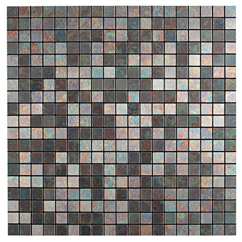 Royllent Modern Matel Aluminum Mosaic Bursh Type Peel&Stick Tiles Kitchen Decoration Backsplash Accent wall Tv&Sofa Background Bathroom Wall 1 Sq.ft (Rainbow) (Sheet Metal Stove compare prices)