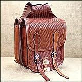 Hilason Western Hand Tooled Leather Cowboy Trail Ride Horse Saddle Bag